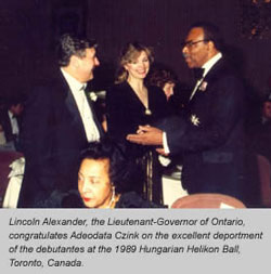 Lincoln Alexander with Adeodata Czink at the 1989 Hungarian Helikan Ball